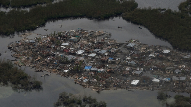 Destroyed houses are seen in a village after Hurricane Matthew passes Corail
